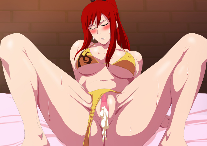 Censored Closed Eyes Cum In Pussy Cumdrip Erza Scarlet Fairy Tail