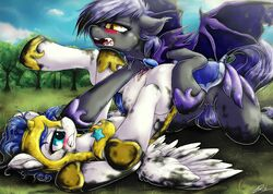 amber_eyes anthro armor black_fur blue_hair blush dimwitdog duo equine female feral friendship_is_magic fur furry hair helmet horse lying messy midnight_blossom_(mlp) mud my_little_pony on_back original_character pegasus pony purple_hair pussy royal_guard_(mlp) thestral white_fur wings