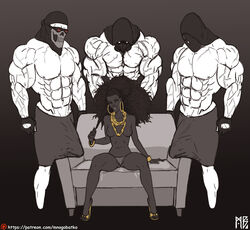 3boys big_penis bulge dark-skinned_female dark_skin female hoop_earrings huge_cock medium_breasts mnogobatko muscles panties semi-erect towel