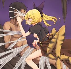 1boy 1girl areola arms_behind_back blindfold blonde_hair blush bondage bow boy_rape breasts breasts_outside brown_dress brown_eyes clothed_female_nude_male clothed_sex dra dress dridder extra_legs female femdom hairbow hand_on_head insect_girl kissing malesub monster_girl nipples partially_undressed penis ponytail rape restrained reverse_rape saliva saliva_trail short_hair sitting sitting_on_lap sitting_on_person smile spider_girl spider_web straight tied_hair touhou yamame_kurodani