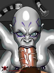 :>= angry asajj_ventress breasts close-up fellatio female flamingmelonlord grey_skin huge_nipples hyper hyper_penis interspecies large_breasts lightsaber looking_at_viewer male male_pov nipples oral penis pubic_hair solo_focus star_wars veiny_penis weapon