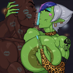 cheating choker cuckold dark_skinned_male earrings eyeshadow female green_skin huge_breasts kiss_mark kissing lipstick lipstick_mark looking_at_viewer male middle_finger muscles muscular netorare nipple_ring nose_ring ntr orc orc_female piercings pov queen_of_spades rampage0118 saliva short_hair tattoo vem