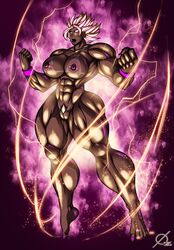 barefoot big_muscles breasts cleavage dark_skin dragon_ball dragon_ball_super earrings female female_only glowing glowing_eyes kale large_breasts muscles muscular muscular_female nipples nude osmar-shotgun pubic_hair pussy solo spiked_hair super_saiyan tanlines thick_thighs thighs white_eyes wide_hips