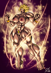 barefoot big_muscles breasts cleavage dragon_ball dragon_ball_super earrings female female_only glowing glowing_eyes kale large_breasts muscles muscular muscular_female nipples nude osmar-shotgun pubic_hair pussy solo spiked_hair super_saiyan thick_thighs thighs white_eyes wide_hips