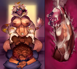 abs afro ambiguous_penetration animal_humanoid areolae ass barbed_penis breasts butt_grab caprine claws cum cum_inside dickgirl_penetrating ejaculation facial_piercing feline female from_behind_position futa_on_female futanari glowing glowing_eyes hand_on_butt humanoid internal intersex_penetrating jewelry large_breasts licking licking_lips mammal muscles muscular_intersex neck_tuft necklace nipples nose_piercing nose_ring nude penis piercing pubic_hair sex sheep sheepuppy sweat tongue tongue_out tuft vein