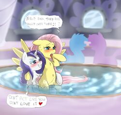 2017 blue_eyes blush cradeelcin cutie_mark dialogue english_text equine eyeshadow female female/female fluttershy_(mlp) friendship_is_magic grin hair half-closed_eyes heart hi_res hooves horn long_hair makeup mammal my_little_pony open_mouth partially_submerged pegasus pink_hair pussy rarity_(mlp) smile text unicorn water wings yuri