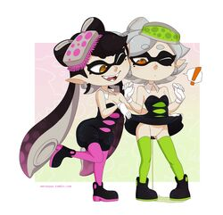 ! +_+ 2girls aori_(splatoon) artist_name bare_shoulders black_dress black_hair black_shoes border breasts cleavage detached_collar domino_mask dress dress_lift earrings eyebrows_visible_through_hair fangs food food_on_head full_body gloves gradient gradient_background gradient_hair green_legwear grey_hair half-closed_eyes hands_up hotaru_(splatoon) knees_together_feet_apart leg_lift legs_apart long_hair looking_down looking_to_the_side merunyaa mole mole_under_eye multicolored_hair multiple_girls no_panties object_on_head one_eye_closed open_mouth orange_background pantyhose peeing pink_background pointy_ears puddle purple_hair purple_legwear pussy shoes short_dress short_hair short_jumpsuit simple_background small_breasts smile splatoon standing standing_on_one_leg sushi teeth tentacle tentacle_hair text thighhighs tumblr twintails uncensored web_address white_border white_gloves wink