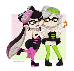 +_+ 2girls ? aori_(splatoon) artist_name bare_shoulders black_dress black_hair black_shoes border breasts cleavage detached_collar domino_mask dress dress_lift earrings eyebrows_visible_through_hair fangs food food_on_head full_body gloves gradient gradient_background gradient_hair green_legwear grey_hair half-closed_eyes hands_up hotaru_(splatoon) knees_together_feet_apart leg_lift legs_apart long_hair looking_down looking_to_the_side merunyaa mole mole_under_eye multicolored_hair multiple_girls no_panties object_on_head one_eye_closed open_mouth orange_background pantyhose pink_background pointy_ears purple_hair purple_legwear pussy shoes short_dress short_hair short_jumpsuit simple_background small_breasts smile splatoon standing standing_on_one_leg sushi teeth tentacle tentacle_hair text thighhighs tumblr twintails uncensored web_address white_border white_gloves wink