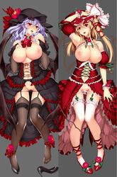 2girls alternative_bust_size armpits asymmetrical_hair bare_shoulders bat_wings black_legwear black_panties black_underwear blonde_hair blush breasts bridal_gauntlets brooch choker cross-laced_clothes dakimakura detached_sleeves dress female flandre_scarlet garter_belt garter_straps grey_background hat hat_ribbon high_heels high_resolution jewelry large_breasts large_filesize lavender_hair leg_garter leg_ribbon lingerie long_hair multiple_girls nipples older open_mouth ouma_tokiichi pantsu panty_pull ponytail red_eyes remilia_scarlet ribbon ribbon_choker shoes short_hair showing_armpits side_ponytail single_shoe thighhighs tied_hair touhou underwear vampire very_high_resolution white_panties white_underwear wings wrist_cuffs