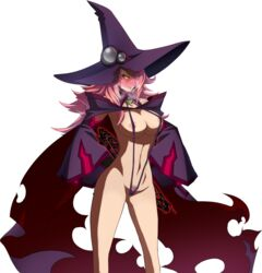 angry areola_slip areolae black_sclera blazblue blush edit hat heavy_breathing konoe_a_mercury nipples photoshop pink_hair pubic_hair slingshot_swimsuit swimsuit wizard_hat yellow_eyes
