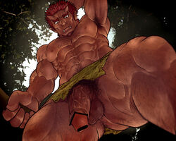 1boy abs body_hair demon fangs funa_(artist) horns male_focus muscle original outdoors penis red_hair solo testicles
