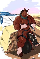 2014 abs anatomically_correct anatomically_correct_penis animal_genitalia animal_penis anthro balls biceps big_balls big_muscles biped black_balls black_penis brown_hooves brown_mane clydesdale digital_media_(artwork) draft_horse equine equine_penis front_view harness hay hay_bale hi_res hooves horse huge_balls hyper hyper_balls hyper_penis male mammal mane medial_ring mostly_nude mottled_penis multicolored_penis muscular muscular_male pecs penis rannik red_eyes snout solo standing thick_penis two_tone_penis whatinsomnia white_penis
