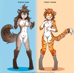 2017 alternate_version_available anonymous_artist anthro blue_background body_swap breast_size_difference breasts canine casual_nudity chest_tuft digitigrade duo edit english_text feline female flora_(twokinds) fur gradient_background grey_fur hair heart hybrid kathrin_(twokinds) keidran knock-kneed mammal multicolored_fur nipples nude nude_edit orange_background orange_fur post_transformation pussy simple_background small_breasts smile spots spotted_fur striped_fur stripes text tiger tom_fischbach transformation tuft twokinds webcomic white_fur yellow_eyes