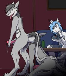 anal anthro anthro_on_anthro arrwulf camera cuckold cum duo_focus equine fur_markings group happy horn horse male male/male mammal markings oral precum rimming sergal sex unicorn