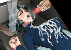 black_hair blush breasts caustica censored closed_eyes couch cum cum_in_mouth cum_on_breasts cum_on_clothes cum_on_upper_body cum_string facial female fubuki_(one-punch_man) highres indoors large_breasts lips long_sleeves lying mosaic_censoring nail_polish one-punch_man open_mouth penis red_nails short_hair sleeping solo_focus sweater turtleneck turtleneck_sweater upper_body