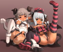 2girls black_panties blue_eyes dark_skin female frontal_wedgie garoudo_(kadouhan'i) grey_hair hat horns legs_up lying multiple_girls on_back open_mouth original panties partially_visible_vulva pointy_ears pussy_juice short_hair tail thighhighs twintails wedgie