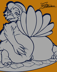 2017 anthro ass avian beak big_butt bird breasts digital_media_(artwork) feathers female food fur hair holidays jyto looking_at_viewer mammal nipples nude simple_background solo thanksgiving thick_thighs turkey wide_hips