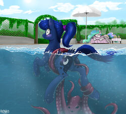 animal_genitalia anus cephalopod friendship_is_magic marine my_little_pony octopus ponytail princess_celestia_(mlp) princess_luna_(mlp) pussy redvais tentacle